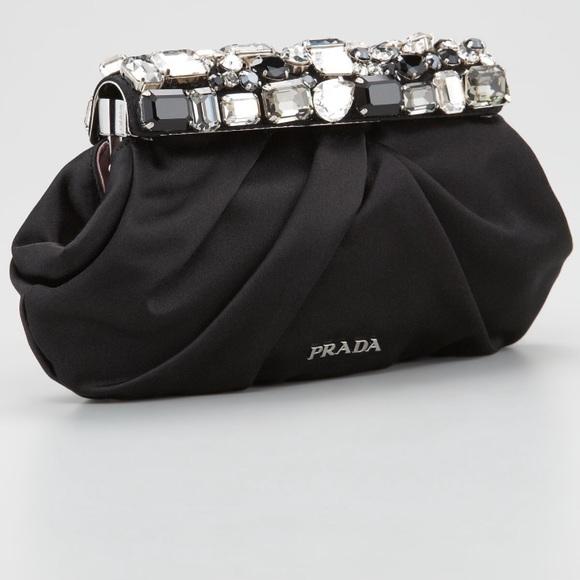 Prada Bags   Nwot Jeweled Satin Clutch Bag   Poshmark 996ede605d
